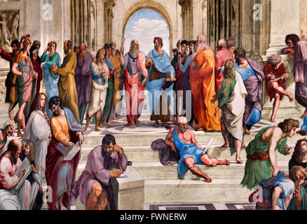 Plato on the left and Aristotle The School of Athens (  Scuola di Atene ) 1509 - 1511 Raphael Rooms (tanze di Raffaello) - Stock Photo
