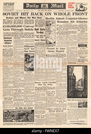 1941 front page Daily Mail Russian Counter Attack along Eastern Front - Stock Photo