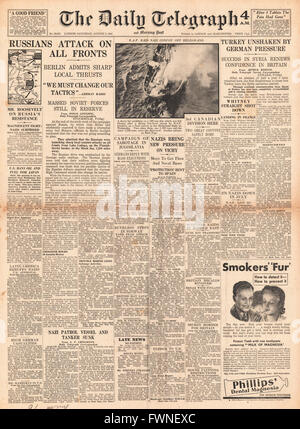 1941 front page Daily Telegraph Russian Counter Attack along Eastern Front, Mass executions in Yugoslavia and Turkey - Stock Photo