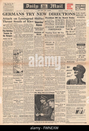 1941 front page Daily Mail Germans Advance on Eastern Front, Italian Cruiser Torpedoed and British Forces massing - Stock Photo