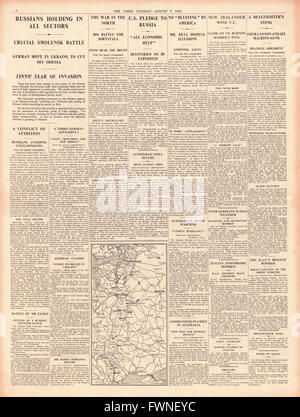 1941 page 4 The Times German Army advance on Kiev and Sergeant James Ward awarded the Victoria Cross - Stock Photo