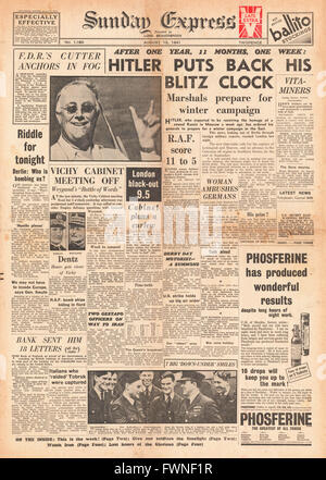 1941 front page Sunday Express Hitler Preapres for Winter Campaign in Russia - Stock Photo