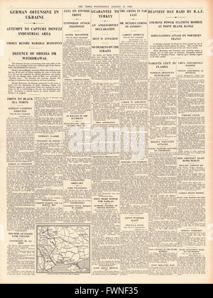 1941 page 4 The Times German Army adavance in the Ukraine and RAF Daylight Raid on Cologne - Stock Photo