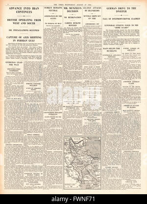 1941 page 4 The Times German Army capture city of Dnepropetrovsk and RAF and Royal Navy in action in Iran - Stock Photo
