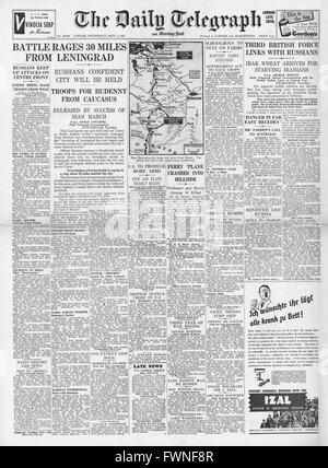 1941 front page  Daily Telegraph German Army advances on Leningrad - Stock Photo