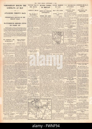 1941 page 4 The Times German advance held by Voroshilov and RAF Bomb German occupied Europe - Stock Photo