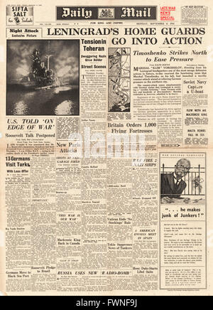 1941 front page Daily Mail Battle for Leningrad - Stock Photo