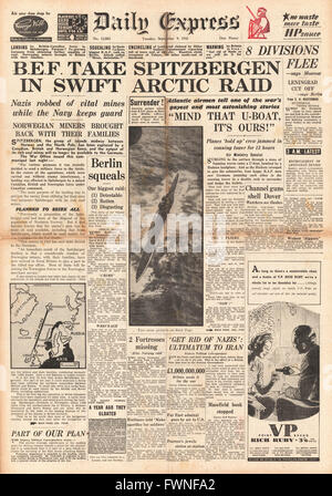 1941 front page  Daily Express Allied Forces occupy Spitzbergen - Stock Photo