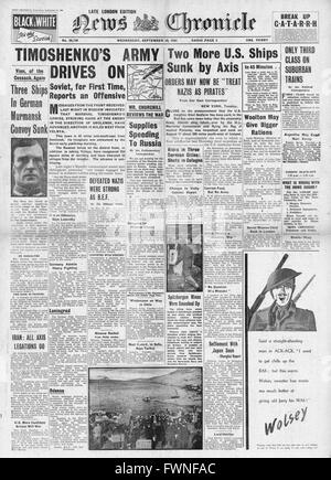 1941 front page  News Chronicle Marshal Timoshenko leads Russian counter attack and U-Boat sinks U.S. Freighter's - Stock Photo