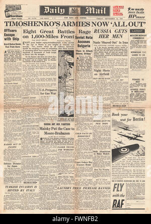1941 front page Daily Mail Russian and German Armies battle along Eastern Front - Stock Photo