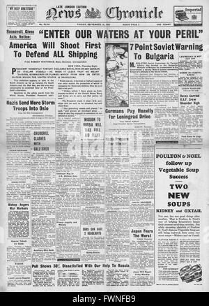 1941 front page  News Chronicle Roosevelt Speech on Battle of the Atlantic and Soviet warning to Bulgaria - Stock Photo