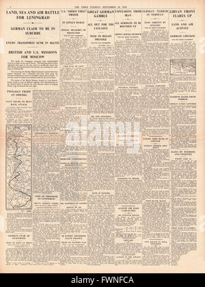 1941 page 4 The Times Land, Sea and Air Battle for Leningrad and mass arrests in Oslo by Gestapo - Stock Photo