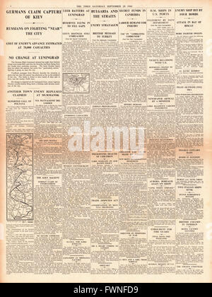 1941 page 4 The Times German Army claim capture of Kiev - Stock Photo