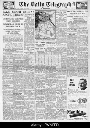 1941 front page Daily Telegraph RAF in action on Arctic Front and U.S. Bill to end Neutrality - Stock Photo