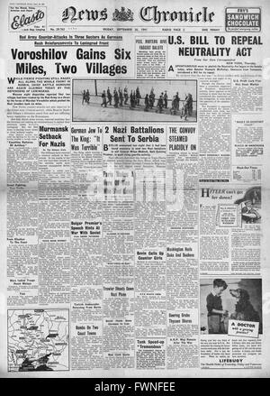1941 front page  News Chronicle Russian Army counter attacks along Eastern Front and  U.S. Bill to end Neutrality - Stock Photo