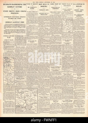 1941 page 4 The Times Fierce fighting in Russia and State of Emergency in Czechoslovakia - Stock Photo