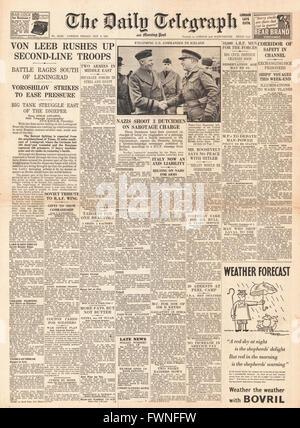 1941 front page  Daily Telegraph Battle rages around Leningrad - Stock Photo