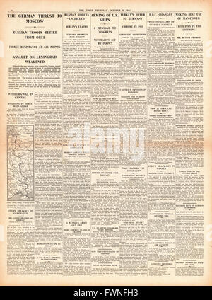 1941 page 4 The Times  German Army drives on Moscow and arming of U.S.Ships - Stock Photo