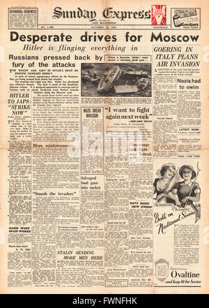 1941 front page  Sunday Express German Army drive on Moscow - Stock Photo
