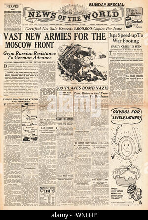 1941 front page News of the World Russia sending reserves and RAF Bomb Germany and Channel Ports - Stock Photo
