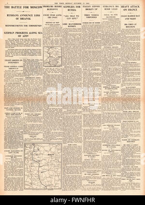 1941 page 4  The Times Battle for Moscow, British aid for Russia and RAF Raids on France - Stock Photo