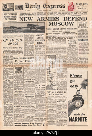 1941 front page  Daily Express Russian Army resistance growing - Stock Photo