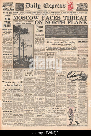 1941 front page Daily Express Battle for Moscow - Stock Photo
