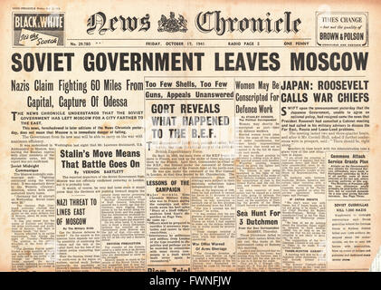 1941 front page News Chronicle Battle for Moscow, fall of Odessa and Roosevelt meets war chiefs on Japan - Stock Photo