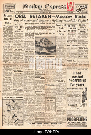 1941 front page Sunday Express Russian Army retakes Orel and General Hideki Tojo is new leader of Japanese Cabinet - Stock Photo