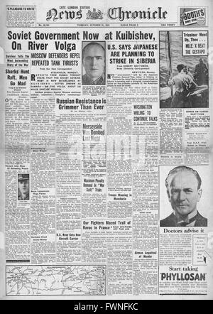 1941 front page News Chronicle Soviet Government at Kuibishev, Merseyside Bombed and Japanese Threat to Siberia - Stock Photo