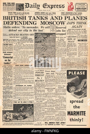 1941 front page Daily Express British Tanks and Planes defending Moscow - Stock Photo