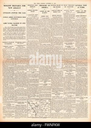 1941 page 4 The Times Battle for Moscow - Stock Photo