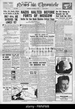 1941 front page  News Chronicle German advance halted before Moscow and Gallup poll shows public dissatisfaction - Stock Photo