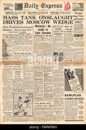 1941 front page Daily Express German Tanks attack Moscow - Stock Photo