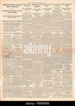 1941 page 4 The Times Battle for Moscow and Crimea and French hostages to be executed in Bordeaux - Stock Photo