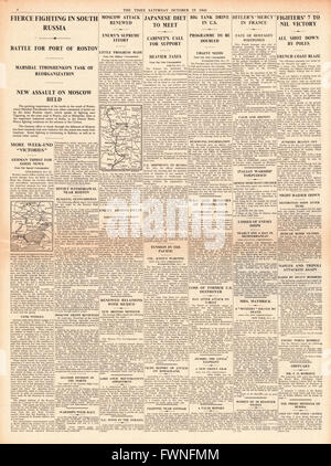 1941 page 4 The Times Fierce fighting in Russia - Stock Photo