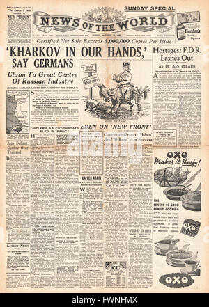 1941 front page  News of the World German Army capture Kharkov - Stock Photo