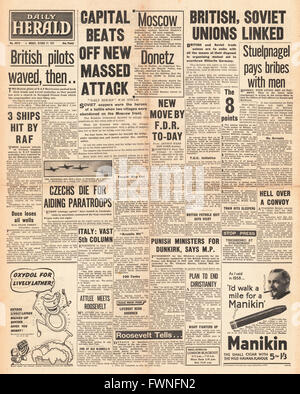 1941 front page Daily Herald Battle for Moscow and Crimea - Stock Photo