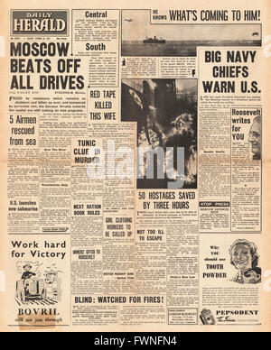 1941 front page  Daily Herald Battle for Moscow - Stock Photo