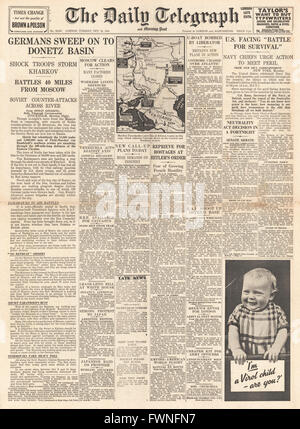 1941 front page Daily Telegraph German Army attack on Donets Basin and U.S. Navy secretary Frank Knox says U.S. - Stock Photo