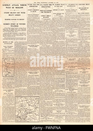 1941 page 4 The Times Battle for Moscow and VC awarded to Australian Army Private James Gordon - Stock Photo