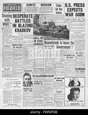 1941 front page  Daily Herald  Fierce battles in Kharkov - Stock Photo