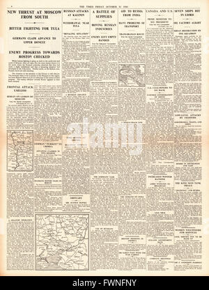 1941 page 4 The Times German Army reach the Donets Basin - Stock Photo