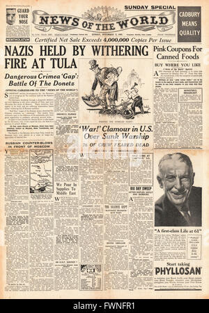 1941 front page News of the World German Army advance held at Tula - Stock Photo