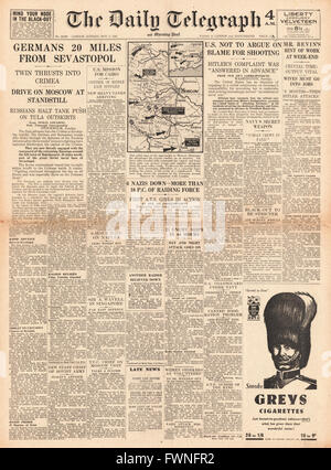 1941 front page Daily Telegraph German Army 20 miles for Sebastopol - Stock Photo