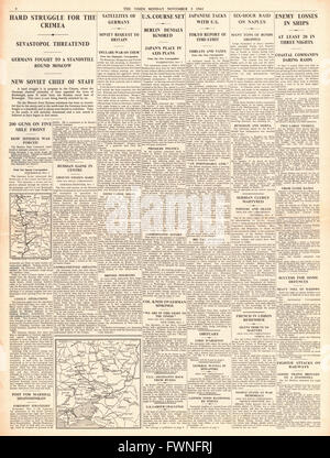 1941 page 4 The Times Battle for Moscow and Crimea, RAF Bomb Naples and German Shipping - Stock Photo