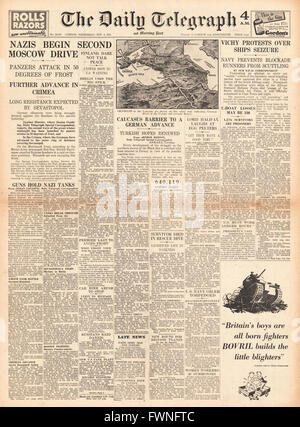 1941 front page Daily Telegraph Battle for Moscow and Crimea - Stock Photo