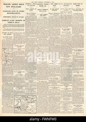 1941 page 4 The Times Battle for Moscow, Japan in diplomatic talks with the U.S. and RAF Bomb German bases in Western - Stock Photo