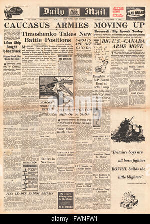 1941 front page Daily Mail Battle for the Caucasus - Stock Photo
