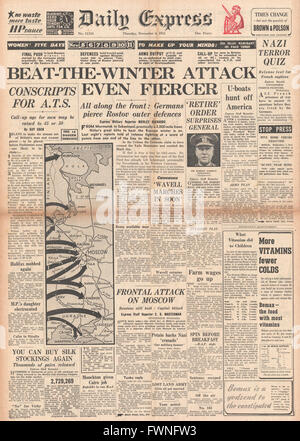 1941 front page Daily Express Fierce battles on the Eastern Front - Stock Photo